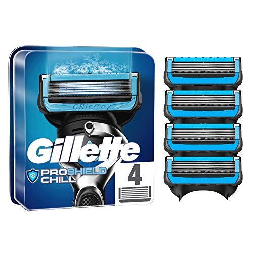 Gillette ProShield Chill Rasierklingen für Männer, 4 Stück, mit 5 Anti-Irritations-Klingen