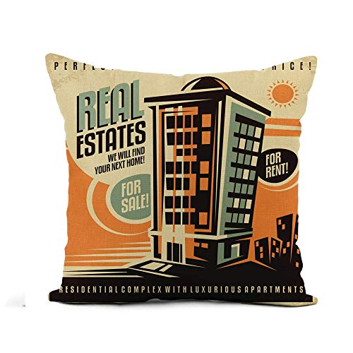 N\A Throw Pillow Cover Real Estates Edificio residencial Vintage Casa Retro en Alquiler Funda de Almohada Decoración para el hogar Funda de Almohada de Lino de algodón Cuadrada Funda de cojín