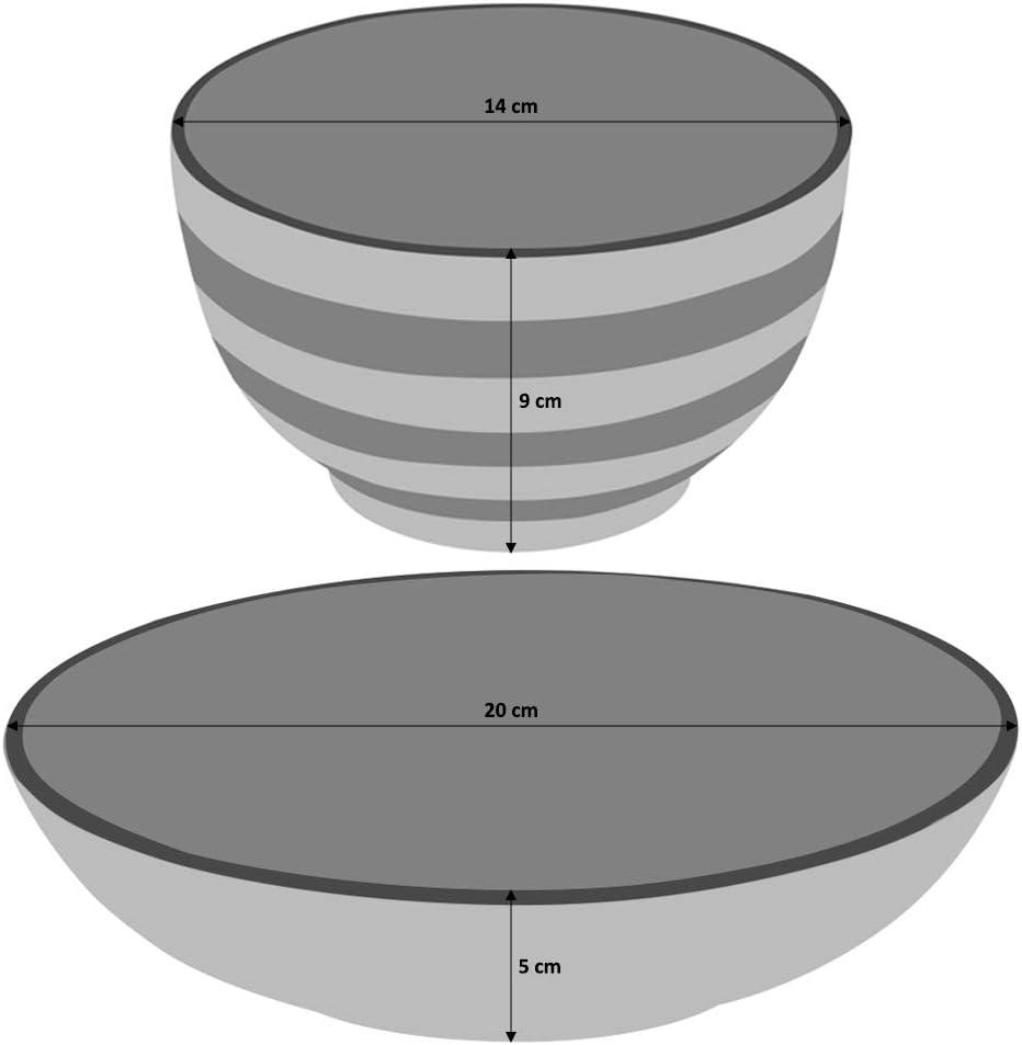 Gris Grande Assiette Plate//Assiette /à Dessert//Assiette Creuse 12 Pi/èces//4 Personnes ProCook Coastal Service de Table en Gr/ès Gla/çure R/éactive