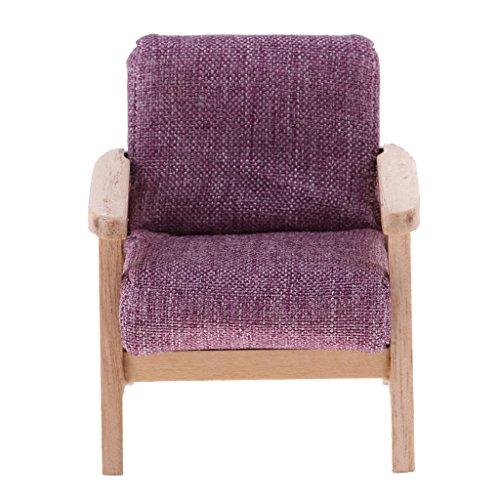 1/12 Puppenhaus Wohnzimmer Möbel - Miniatur Einzigen Sofa Sessel Ohrensessel Stuhl - 6.5 * 6 * 7.5cm - Lila