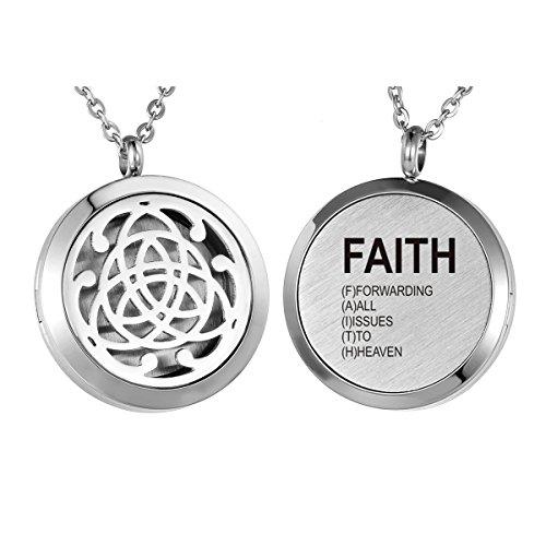 HooAMI Aromatherapy Essential Oil Diffuser Necklace - 'FAITH' Celtic Knot Locket Pendant