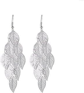 Hollow Flower Leaf Drop Dangling Earrings Pendientes Jewelry Wedding Bridal Tassel Long Earrings for Women