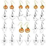 12 Pairs of Halloween Dangle Earrings for Women Girls, Pumpkin Halloween Jewelry Set, Ghost, Earrings