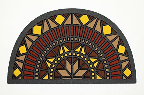 De'Carpet Felpudo Entrada Casa Original Moderno Flocado Media Luna Mosaico Amarillo 40x70