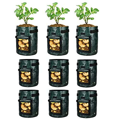 iPower 9-Pack 5-Gallon Potato Grow Bags Garden Plant Pots Vegetable Container with Handle, Access Flap and Large Harvest Window, Waterproof and Reusable, 5 Gallon, Black
