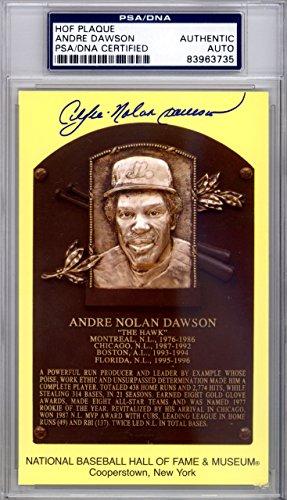 ANDRE NOLAN DAWSON AUTOGRAPHED HOF PLAQUE POSTCARD FULL NAME PSA/DNA STOCK #118374