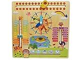 WoodyWood® - Orologio con calendario per bambini, in legno, 30 x 30 cm