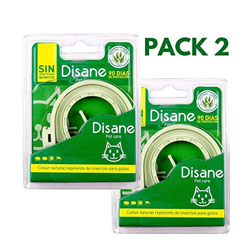 DISANE Pack 2 Collares Antiparásitos para Gatos 100% Naturales | 6 Meses de Protección | Repele Pulgas, Garrapatas, Piojos y Mosquitos | Collar Antipulgas para Gato Adulto y Cachorro