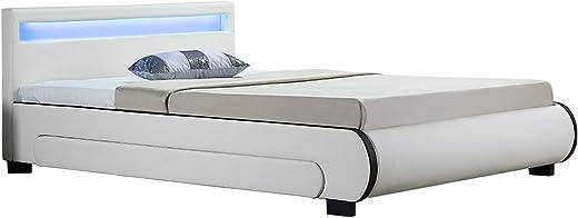 Juskys Polsterbett Bilbao 140×200 cm – Bett mit Bettkasten, LED-Beleuchtung & Lattenrost – Bettgestell Holz und Kunstleder – Stauraumbett weiß