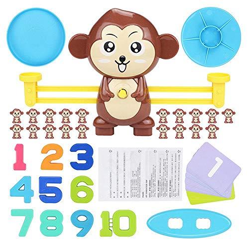 Volwco Mono Equilibrar Juego De Matemáticas, 64 Piezas Juguete De Aprendizaje Aprender A Contar Números Y Matemática Básica, Regalo Educativo De Juguete para Niños Y Niñas Preescolar