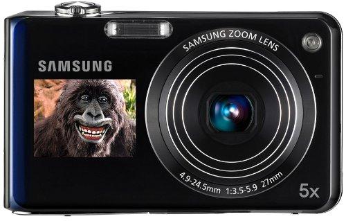 Samsung PL150 Digitalkamera (nur microSD, 12 Megapixel, 5-fach opt. Zoom, duales Display, Bildstabilisierung, Weitwinkel) blau