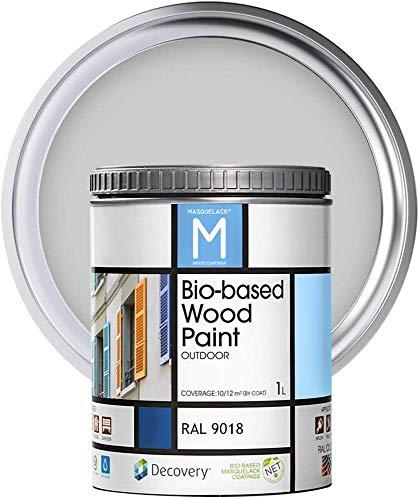 Pintura para Madera | Color Blanco | Bio-based Wood Paint RAL 9018 | 1 L | Para todo tipo de Madera | Pintura madera exterior con un aspecto de acabado semi mate cálido y sedoso