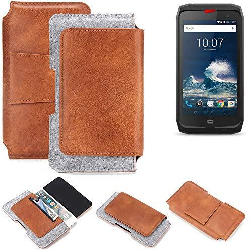 K-S-Trade Schutz Hülle Kompatibel Mit Crosscall Action-X3 Gürteltasche Holster Gürtel Tasche Schutzhülle Handy Smartphone Tasche Handyhülle PU + Filz, Braun (1x)
