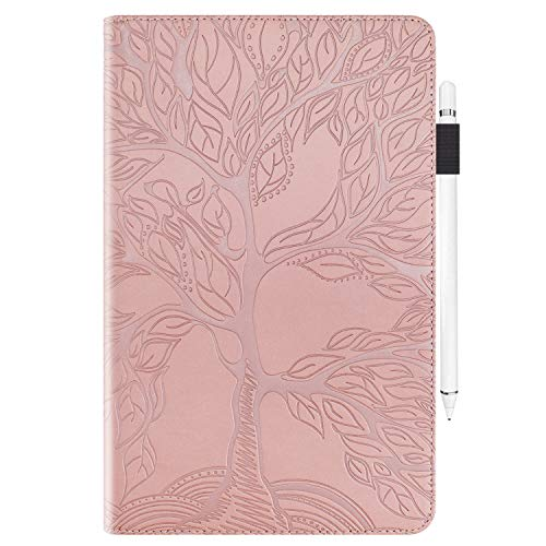 Rosbtib Case for iPad 9.7 2018 2017 (6th/5th Gen)/ iPad Air 2 / iPad Air,Stand Cover Shockproof Protective Case Cover with Pencil Holder(Life Tree) - Pink