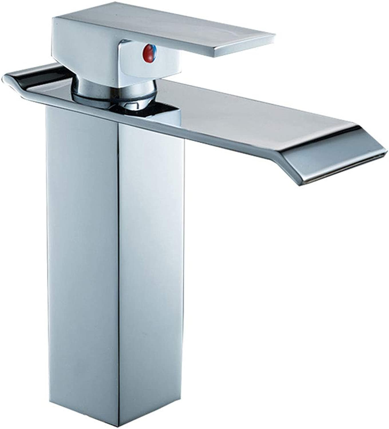 Basin Tap Waterfall Faucet, Modern Style Hot and Cold Single Hole Single Handle Copper Chrome for Bathroom Basin