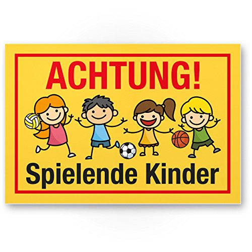 Komma Security Achtung Spielende Kinder Kunststoff Schild 30 x 20 cm Hinweisschild Warnzeichen Warnschild langsam fahren Warnung Hinweis Spielstraße Spielplatz - Vorsicht spielende Kinder