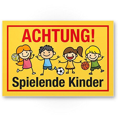 Achtung Spielende Kinder Kunststoff Schild (gelb-rot, 30 x 20cm), Hinweisschild, Warnzeichen, Warnschild langsam fahren, Warnung, Hinweis Spielstraße/Spielplatz - Vorsicht spielende Kinder