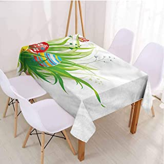 VICWOWONE Easter Restaurant Rectangle Tablecloth Printed Tablecloth Hidden Eggs on Grass Spring,Rectangle - W60 x L84 inch
