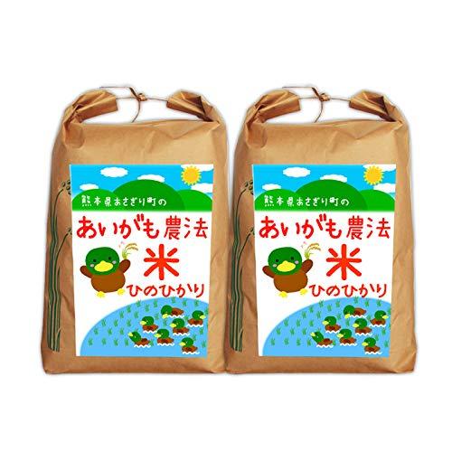 【送料無料】令和2年産 合鴨農法米ヒノヒカリ 5分づき:約9.6kg(約4.8kg×2袋)【栽培期間中農薬不使用】【アイガモ】【熊本県産】
