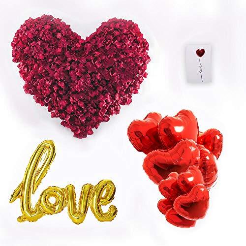 huaao Regalo di San Valentino Kit Petali di Rosa Rossa artificiali, Palloncini di Cuore Rosso e Palloncini Love Giallo Decorazioni romantica per San Valentino, Anniversario Matrimonio e Fidanzamento
