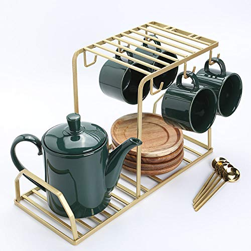 Mok zwarte thee, keramiek koffiemok en schoteltje set familie keukenvrienden bezoeken eenvoudige stijl in 4 kopjes met 4 lepels 1 theepot