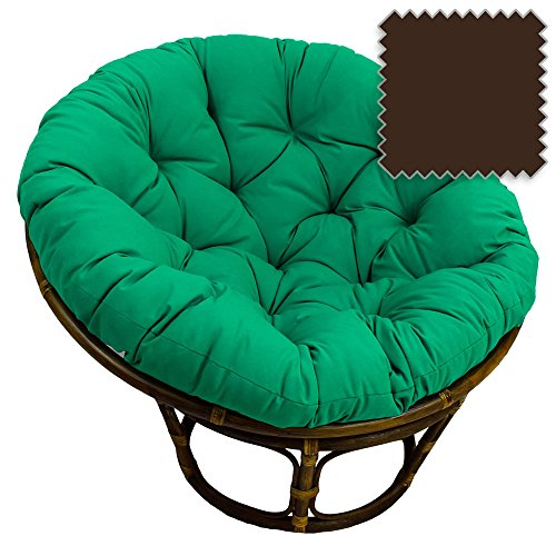 DCG Stores 42-Inch Bali Rattan Papasan Chair with Cushion - Solid Twill Fabric, Chocolate Exclusive