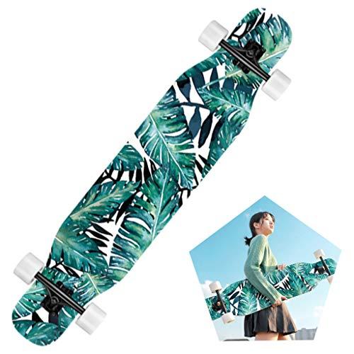 YF-Barstool Freestyle Longboard Komplett Skateboard - 110 x 25 cm Drop Through Deck Komplett Concave Maple Cruiser Camber für Kinder Anfänger Erwachsene Jugendliche