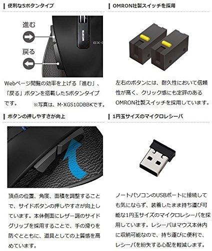 『エレコム マウス ワイヤレス (レシーバー付属) Sサイズ 小型 5ボタン (戻る・進むボタン搭載) BlueLED 握りの極み ホワイト M-XGS10DBWH』の7枚目の画像