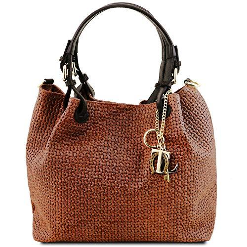 Tuscany Leather TL KeyLuck - Borsa shopping in pelle stampa intrecciata - TL141573 (Cannella)