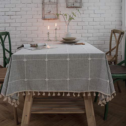 YCZZ tafelkleed voor eetkamer, geborduurd, vierkant, rechthoekig, franjes van katoen-linnen, effen kleuren
