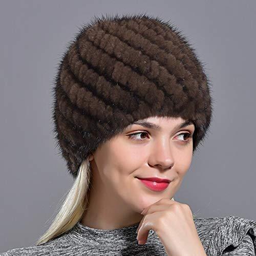 WAZHX Winter Frauen Nerz Pelz Hüte Natürliche Echte Pelz Strickmütze Modische Flauschige Damen Echte Pelz Mütze Weibliche Schwarze Pelzmützen Braun