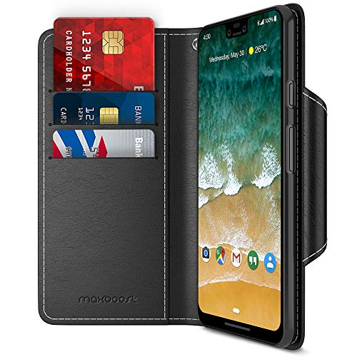 Google Pixel 3 XL Case, Maxboost [Folio Style] Wallet Case for Google Pixel 3 XL [Stand Feature] (Black) Protective PU Leather Flip Cover with Card Slot + Side Pocket Magnetic (MB000328)