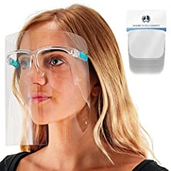 10 Pack of Face Shields with Glasses Frames: Sanitary, durable, lightweight, and comfortable premium protective face shields that are made with ultra-clear thick plastic. Each face shield contains an internally mounted comfort fit acrylic glasses fra...