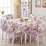 QAQ Mesa de Tela Silla cojín Conjunto de Fundas para sillas Mesa de Centro Mantel paño Europeo Mantel doméstico Mantel @ Costa Dorada - Púrpura_130 * 130