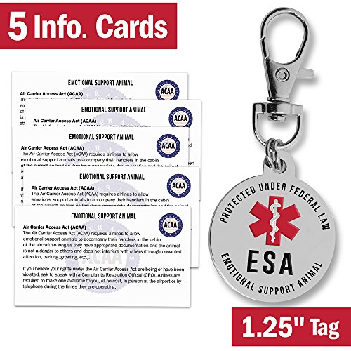 Emotional Support Dog ESA Tag - 1.25 - Premium Double Sided Medical Alert Symbol Pet ID Tags w/ 5 Information Cards - Working Service Animal Protected by Federal Law - Attach to Collar Harness Vest
