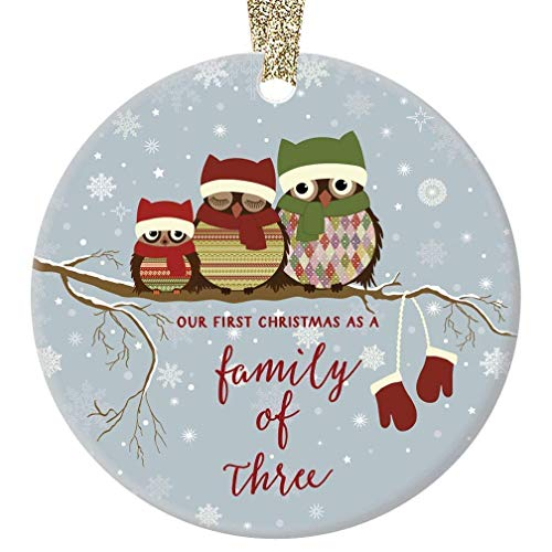 First Christmas as a Family of Three Ornament Cute Owl Family of 3 Baby Shower New Mommy & Daddy Holiday Present 3 Flat Circle Ceramic 1st Time Parents Keepsake w Gold Ribbon & Free Gift Box OR00245