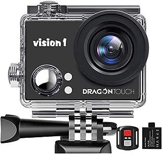 """Dragon Touch Vision 1 Cámara Deportiva 1080P Cámara de Acción con 2"""" Pantalla LCD Control Remoto, 12 MP Videocámara Imperm..."""