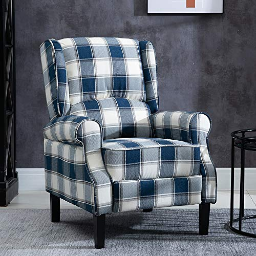 BOJU Comfy Retro Recliner Armchair Living Room Reclining Fireside Chair Fabric Upholstered Leisure Chairs Wing Back with Arms Lounge Bedroom Home Cinema Gaming (Blue Tartan)