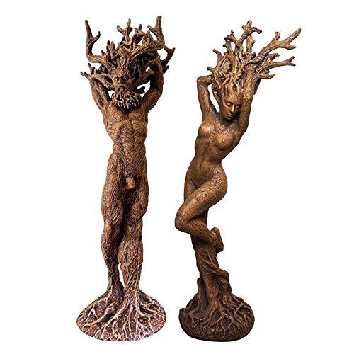 Hanomes Dryade Statue Figuren Harz, Mann und Frau Dryade Ornament, Geheimnis Harz Statue Dekoration Baum Oberfläche Skulptur Gartenfigur, Garten Handwerk Garten Park Dekoration