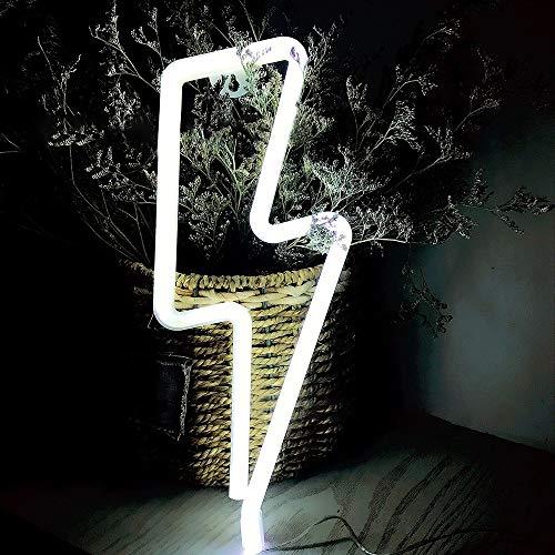 Luces LED de neón con luces LED USB o con pilas Lámpara de iluminación LED colgante de pared Sofá ambiente decorativo para bar, fiesta, hogar, habitación de niños, festival, Navidad, boda (blanco)