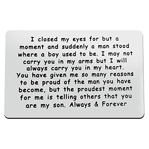 Son Gift from Mom Metal Wallet Insert Card to My Son Inspirational Gift...