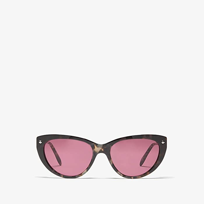 Alexander McQueen  AM0189S (Shiny Dark Havana/Violet Solid) Fashion Sunglasses