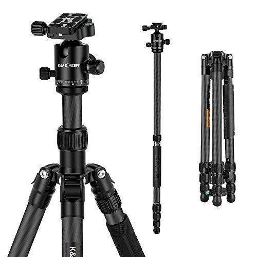 K&F Concept Trípode Monopíe Profesional TC3134C, 100% Fibra de Carbono para Fotografía, 31mm Diametro de Tubo y 7kg Carga, para Cámara Réflex Full Frame DSLR Canon Nikon Teleobjetivo
