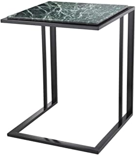 Marble Side Table | Eichholtz Cocktail | Green c-Shaped Marble top end Table with Bronze Base | Modern Luxury Furniture
