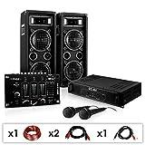DJ Set 'DJ-24M' impianto audio completo PA (2 Casse diffusori Malone da 600 Watt ciascuna, 1 amplificatore skytec, 1 mixer Ibiza, 2 microfoni dinamici, set cavi per collegamento)