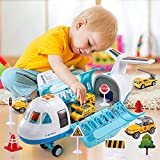 Temi Mist Spay Storage Transport Plane Cargo with 6 Free Wheel Diecast Construction Vehicles and Playmat, Kids Toy Jet Aircraft with Light & Sounds, Gift for 3 4 5 6 Years Old Children, Boys & Girls