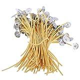 HDMJ - Set di 100 stoppini per candele in cotone pre-cerato, con base in cera d'api e sostenitori per realizzare candele fai da te (colore mostrato)