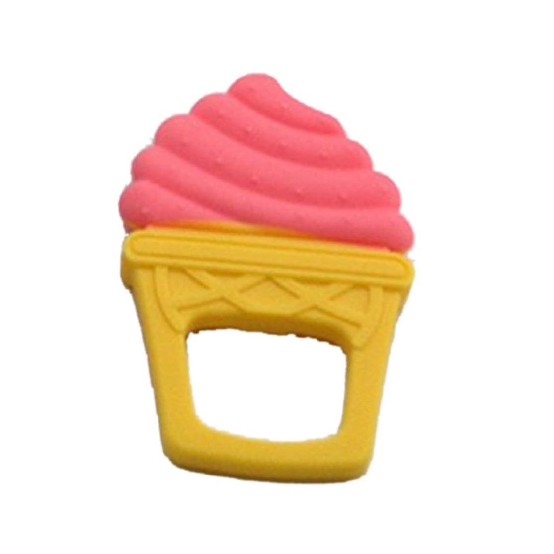 十分な抑圧する意欲シリコーンベビーティーザー2色の果物と野菜の食品グレードソフトシリコーンティーザーベビーモルティーザー-ピンク-