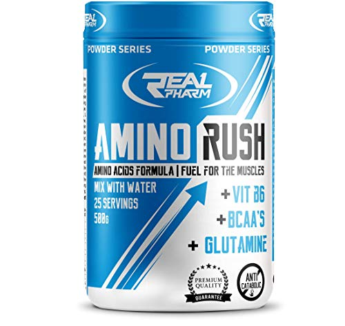 Real Pharm Amino Rush 500g, Amino asids Formula, Fuel for The Muscle, Mix Water 25 Servings, VIT B6, BCAAs (Lemon)