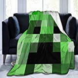 Super-Soft Flannel Bed Throw Blanket, Mine_Craft All Season Warm Plush Microfiber Decorative Blanket for Couch Sofa Chair Dorm Living Room Home Farmhouse (60x50)